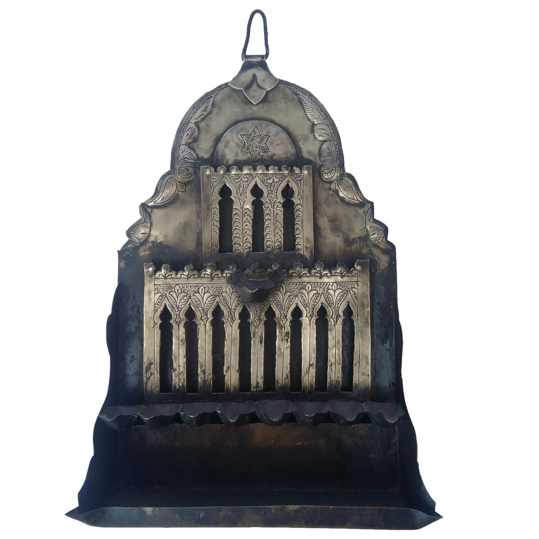 Antique Moroccan Jewish Hanukkah Menorah Oil Lamp Wall Decor Home Decor