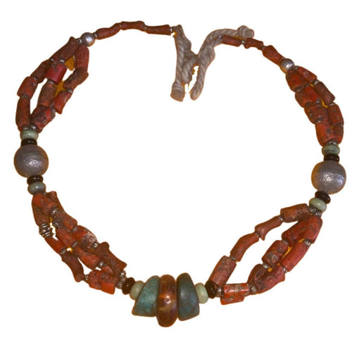 Antique Moroccan Red Coral Tuareg Necklace - Multi-Strand with Amazonite Necklace