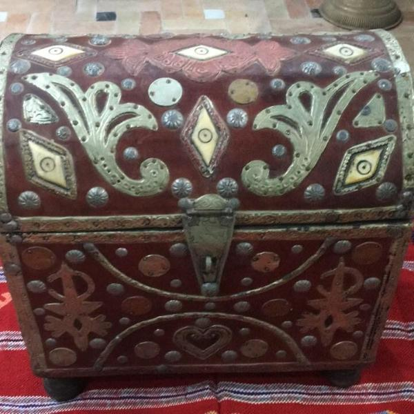 Antique Moroccan Sandok Bridal Dowry Box Home Decor