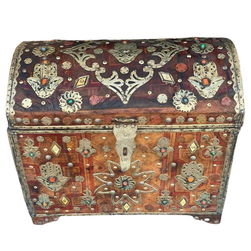 Antique Refurbished Moroccan Cedar Chest - Leather, Bone, Silver, Gems, Hamsa Home Decor