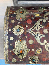 Load image into Gallery viewer, Antique Refurbished Moroccan Cedar Chest - Leather, Bone, Silver, Gems, Hamsa Home Decor