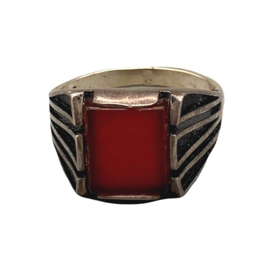 Burnished Sterling Silver Moroccan Mens Ring - Large Red Orange Agate Stone - Size 9.5 Rings