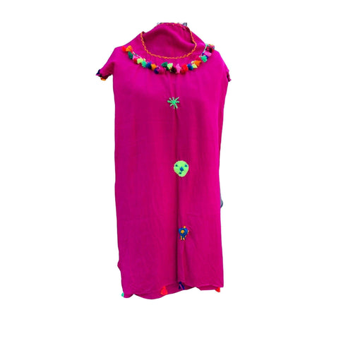 Childs Pink Embroidered Moroccan Lightweight Kaftan Dress with Pompoms Kaftans