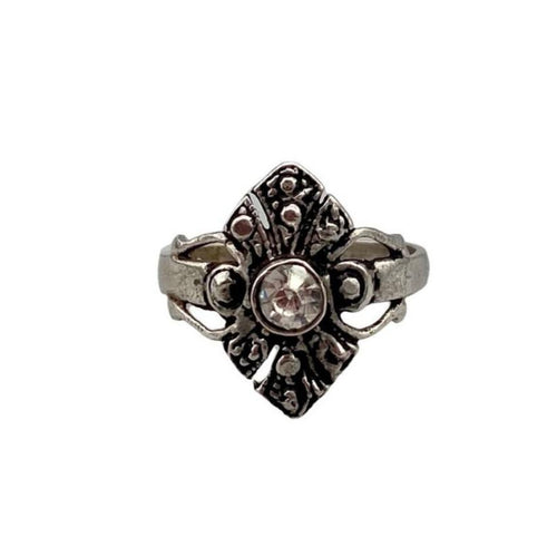 Dainty Vintage Sterling Silver Moroccan Ring - Burnished Silver & Quartz Crystal Stone Size 6 Rings