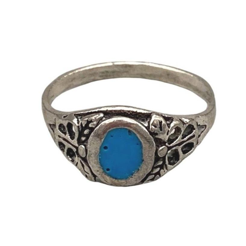 Delicate Sterling Silver Moroccan Berber Ring - Turquoise Resin Size 3 Small Rings