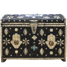 Load image into Gallery viewer, Early 1900s Moroccan Sandok Chest - Leather, Bone, Silver, Gems, Hamsa Home Decor