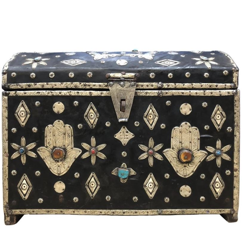 Early 1900s Moroccan Sandok Chest - Leather, Bone, Silver, Gems, Hamsa Home Decor