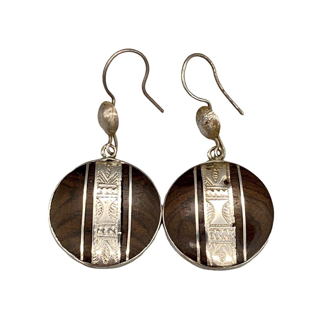 Ebony & Silver Circle Tuareg Earrings Earrings