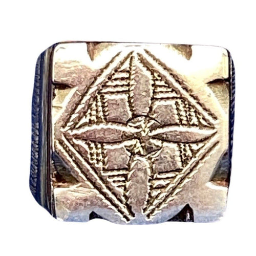 Engraved Sterling Silver & Ebony Square Tuareg Ring - Size 10.25 Rings