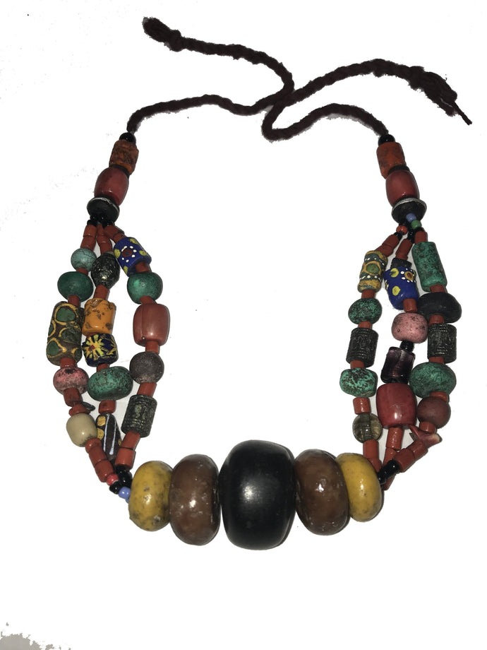 Fantastic Large Vintage Moroccan Berber Pendant Necklace Amber Amazonite Coral Necklace