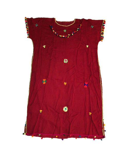 Festive Women's Embroidered Moroccan Lightweight Kaftan Dress with Pompoms - Burgandy Kaftans