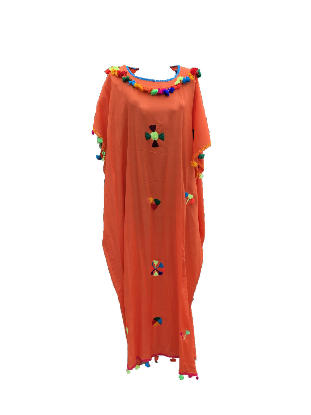 Festive Women's Embroidered Moroccan Lightweight Kaftan Dress with Pompoms - Orange Kaftans