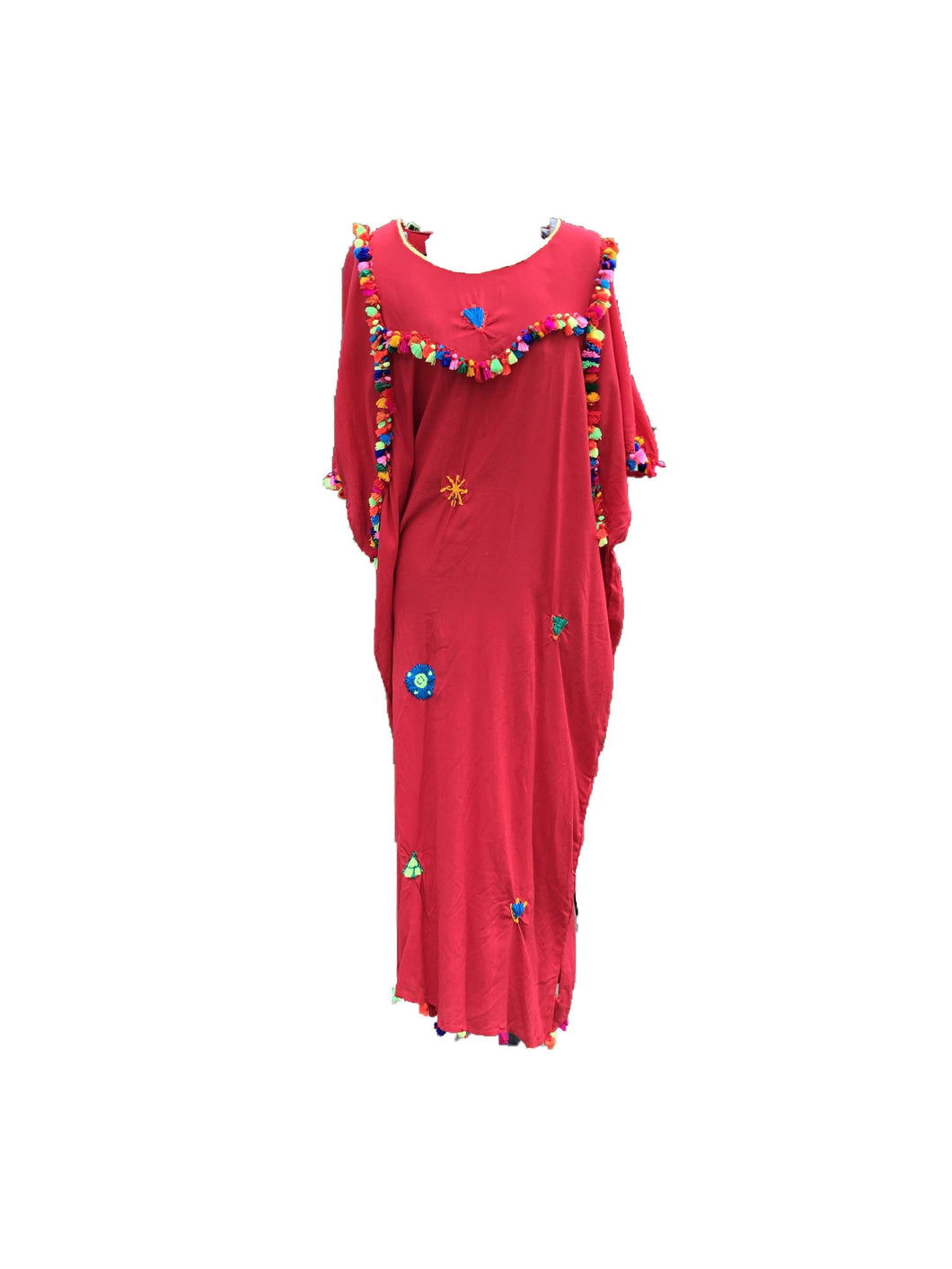 Festive Women's Embroidered Moroccan Lightweight Kaftan Dress with Pompoms - Red Kaftans
