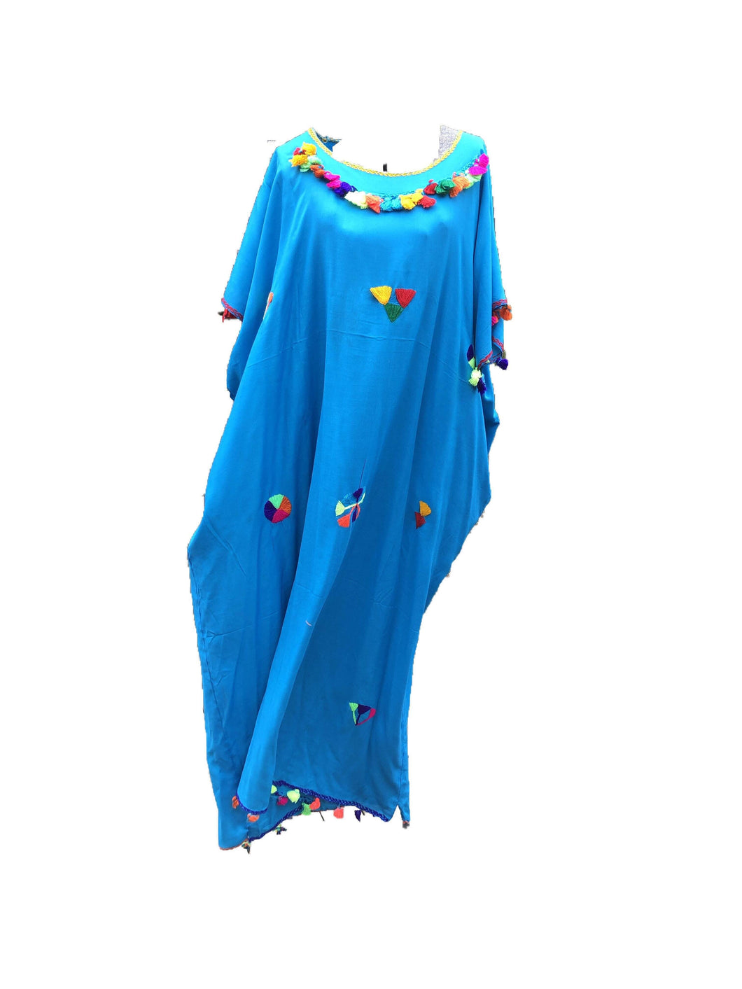 Festive Women's Embroidered Moroccan Lightweight Kaftan Dress with Pompoms - Turquoise Kaftans