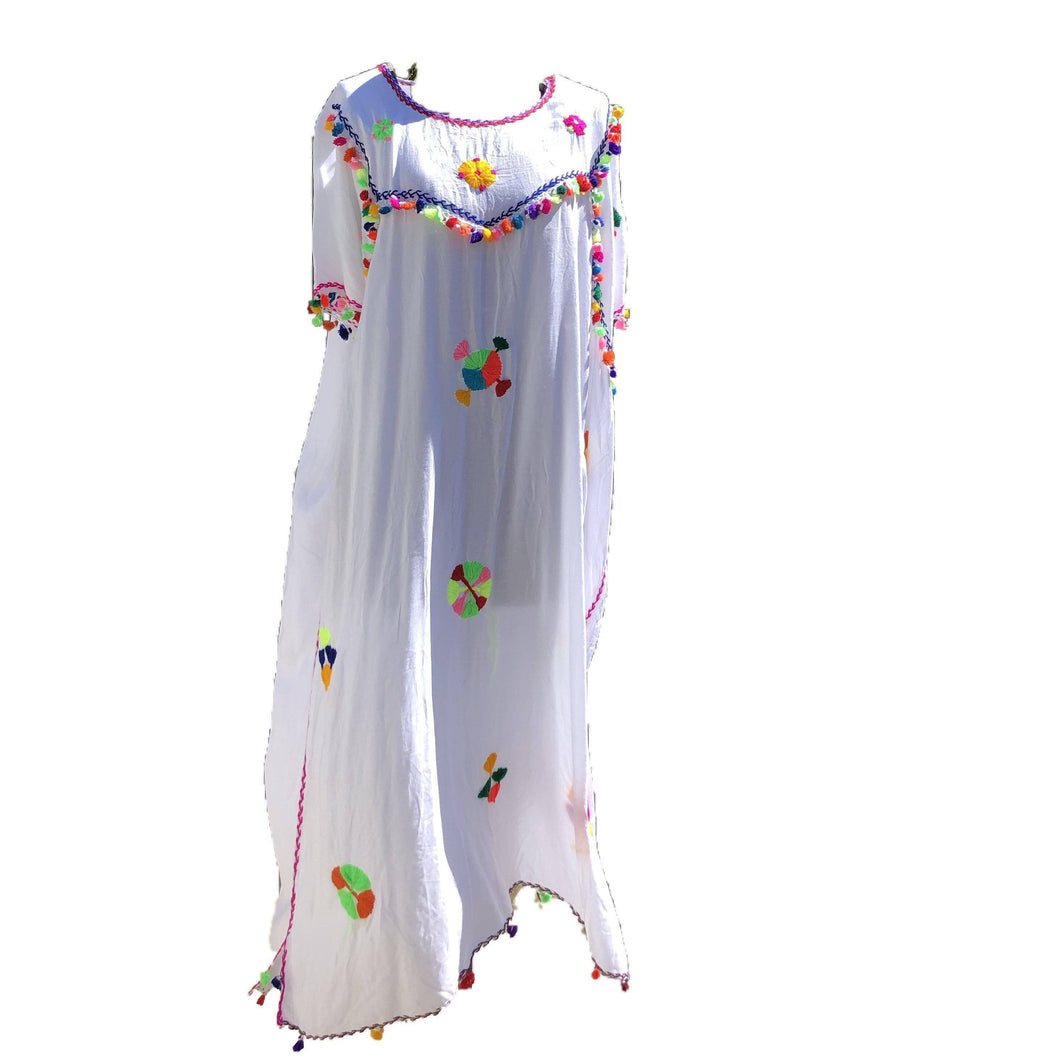 Festive Women's Embroidered Moroccan Lightweight Kaftan Dress with Pompoms - White Kaftans