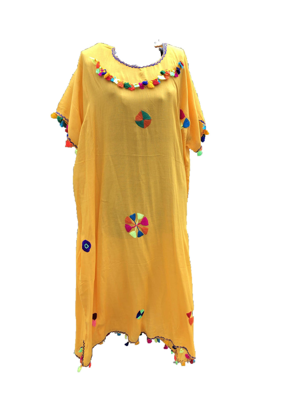 Festive Women's Embroidered Moroccan Lightweight Kaftan Dress with Pompoms - Yellow Kaftans