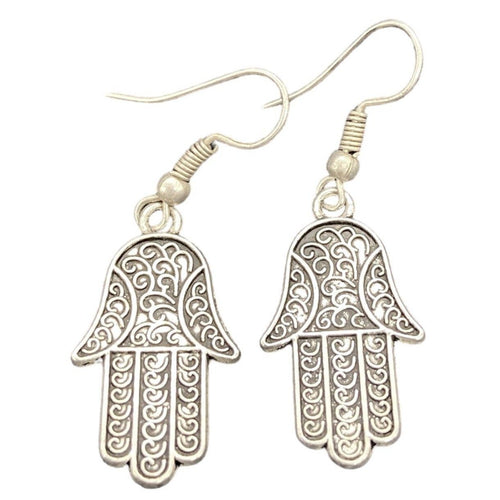 Filigree Silver Hamsa Hand Earrings Jewelry