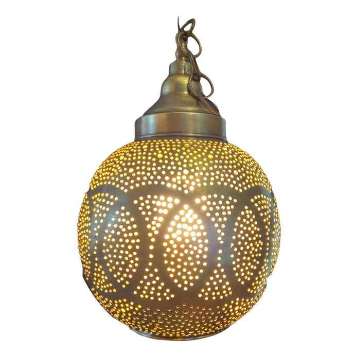 Gold Moroccan Hanging Pendant Light - Round Punched Metal Home Decor