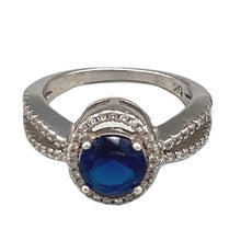 Load image into Gallery viewer, Gorgeous Classic Sapphire Blue Stone Halo Pave Moroccan Sterling Silver Ring - Size 5.5 Rings