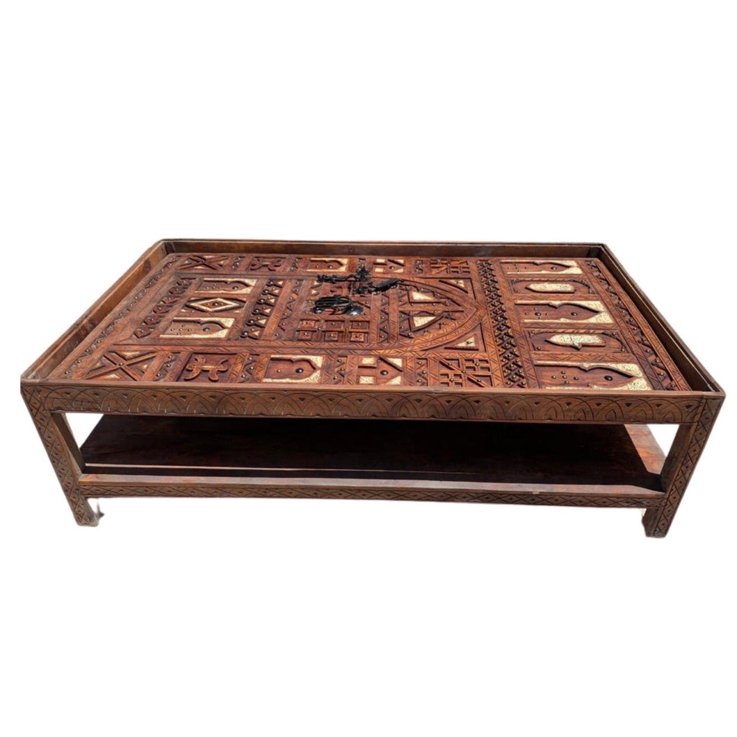 Hand-Carved Moroccan Double Door Table - Inlaid Bone, Silver Melange, Hamsa Home DecorTable