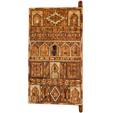 Load image into Gallery viewer, Hand-Carved Moroccan Wood Front Door - Inlaid Bone, Shells, Antique Coins & Beads Home Decor
