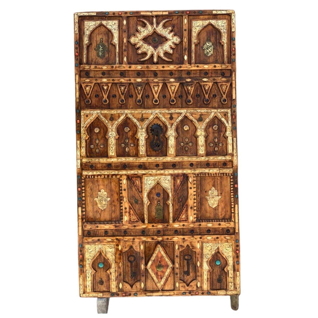 Hand-Carved Moroccan Wood Front Door - Inlaid Bone, Vintage Hamsa, Gems, Shells Home Decor