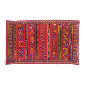 Hand-Loomed Berber Wool Kilim Throw Rug - 5 x 8 Large Red Multicolor