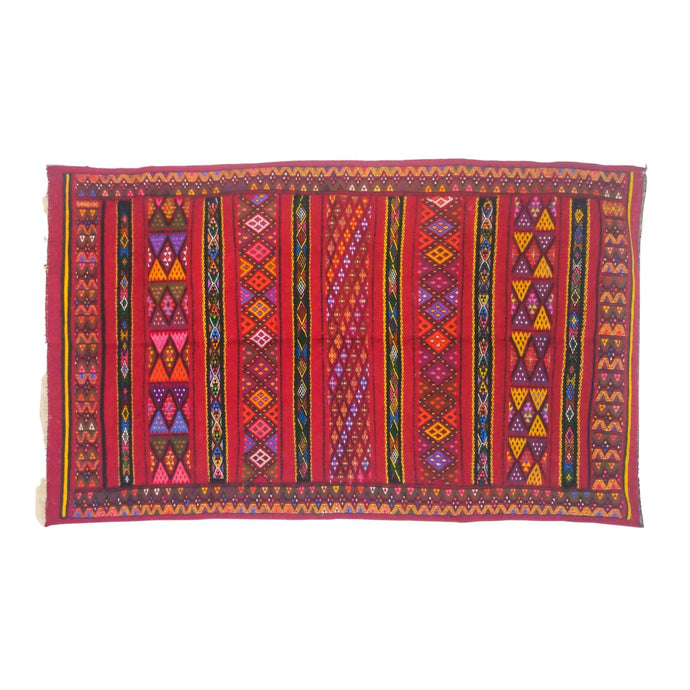 Hand-Loomed Berber Wool Kilim Throw Rug - 5 x 8 Large Red Multicolor Home Decor
