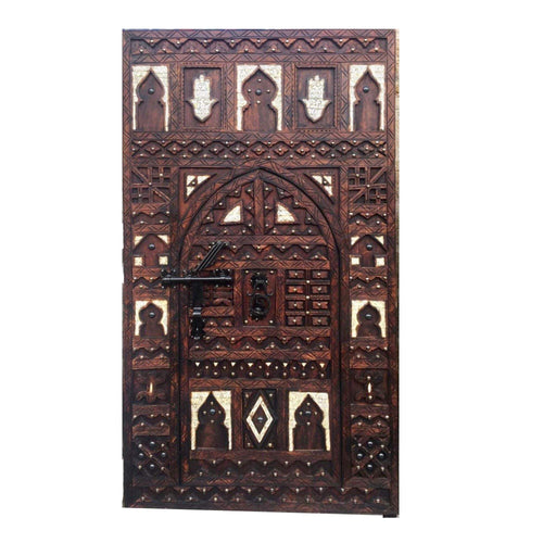 Incredible Hand Carved Moroccan Wood Front Double Door - Inlaid Bone, Hamsa Hands - Wrought Iron Bolt - Reclaimed Cedar - Vintage Home Decor