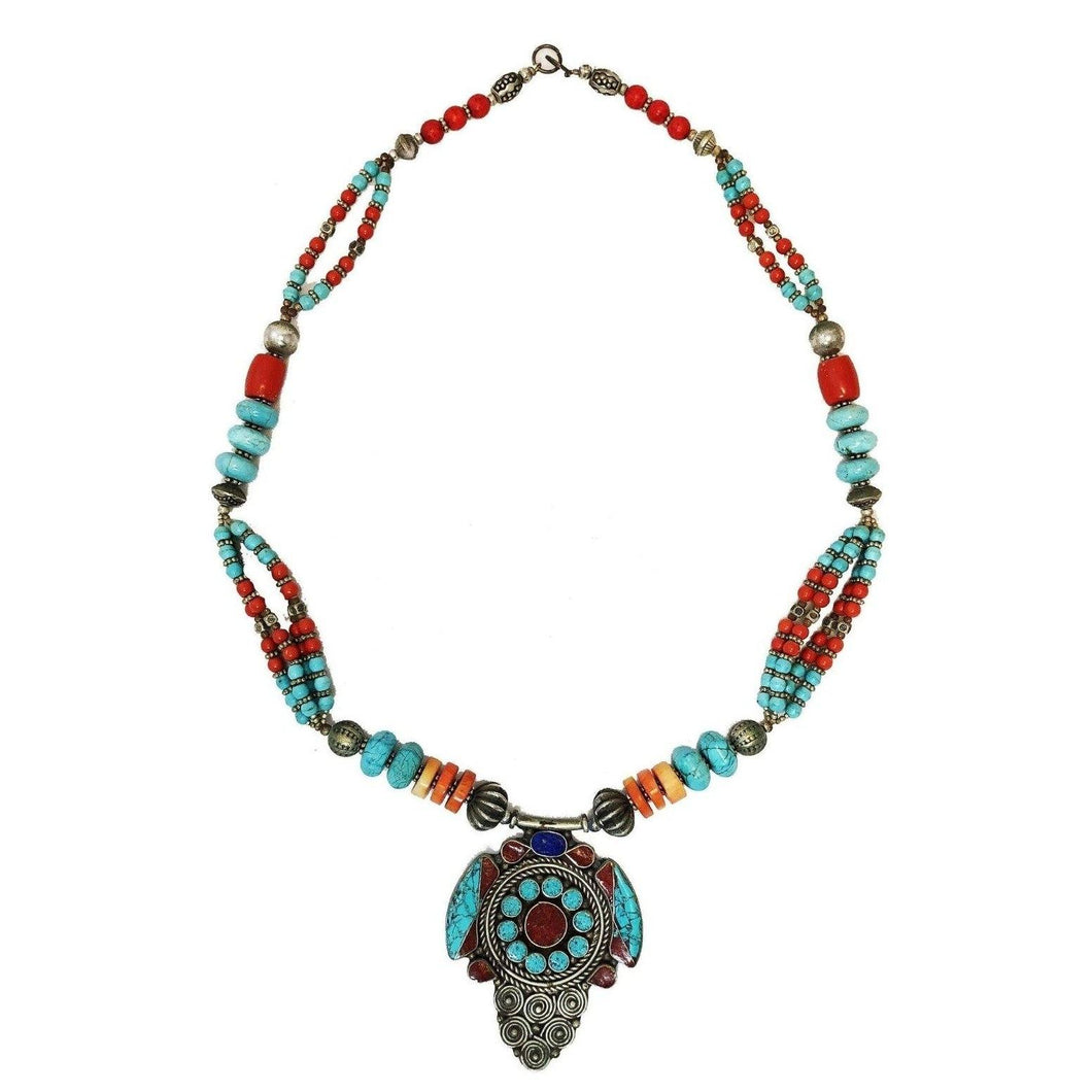Lapis Lazuli, Silver, Turquoise & Coral Necklace Jewelry