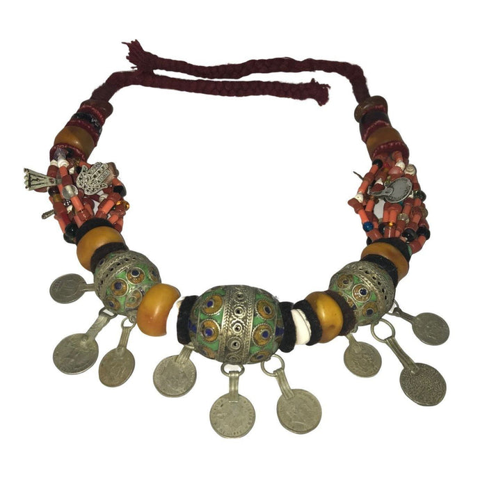 Large Antique Morocco Berber Tagemout Beaded Necklace - Silver, Enamel, Amber, Copal, Coin Necklace