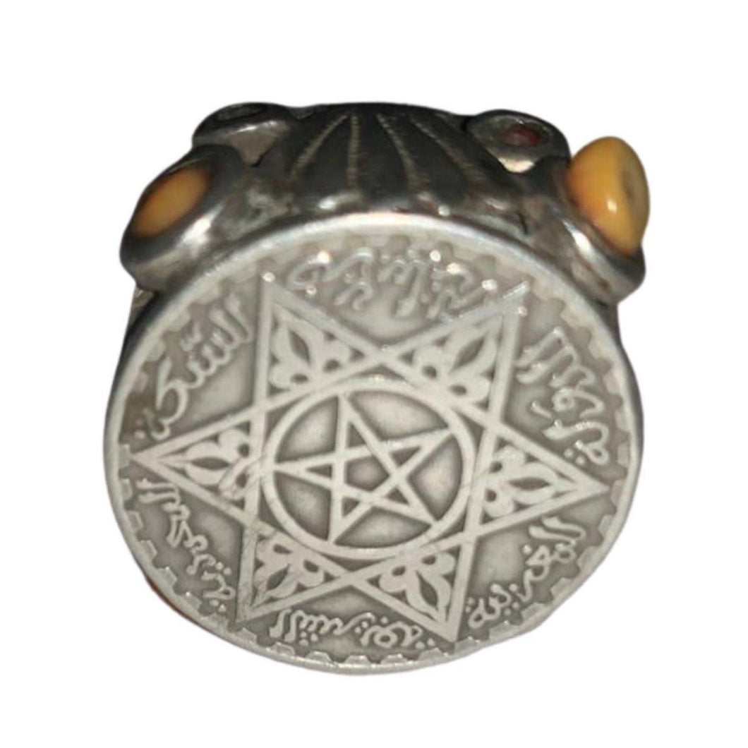 Large Mens Moroccan Berber Silver Coin Ring - Size 12 Rings