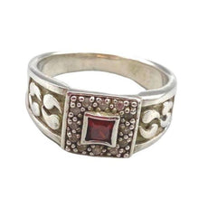 Load image into Gallery viewer, Large Men's Sterling Silver Moroccan Berber Ring - Garnet & Quartz Size 11.5 Rings