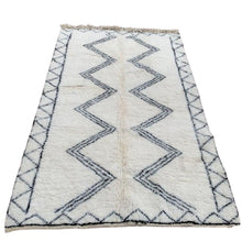 Load image into Gallery viewer, Large Moroccan Beni Ourain Area Rug - 5ft x 8ft Black & White Home Decor