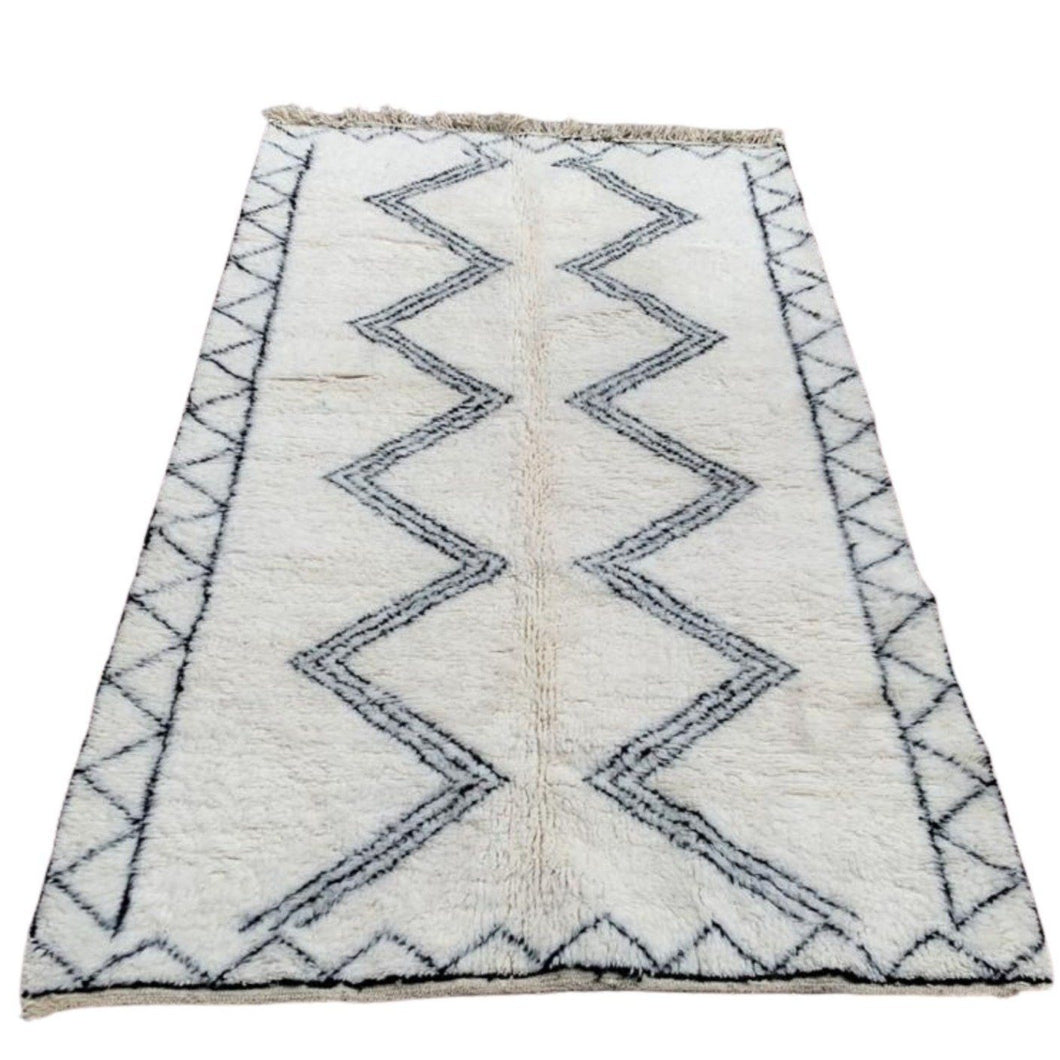 Large Moroccan Beni Ourain Area Rug - 5ft x 8ft Black & White Home Decor