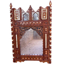 Load image into Gallery viewer, Large Moroccan Berber Mirror - Hand-Carved Wood with Camel Bone Home Decor
