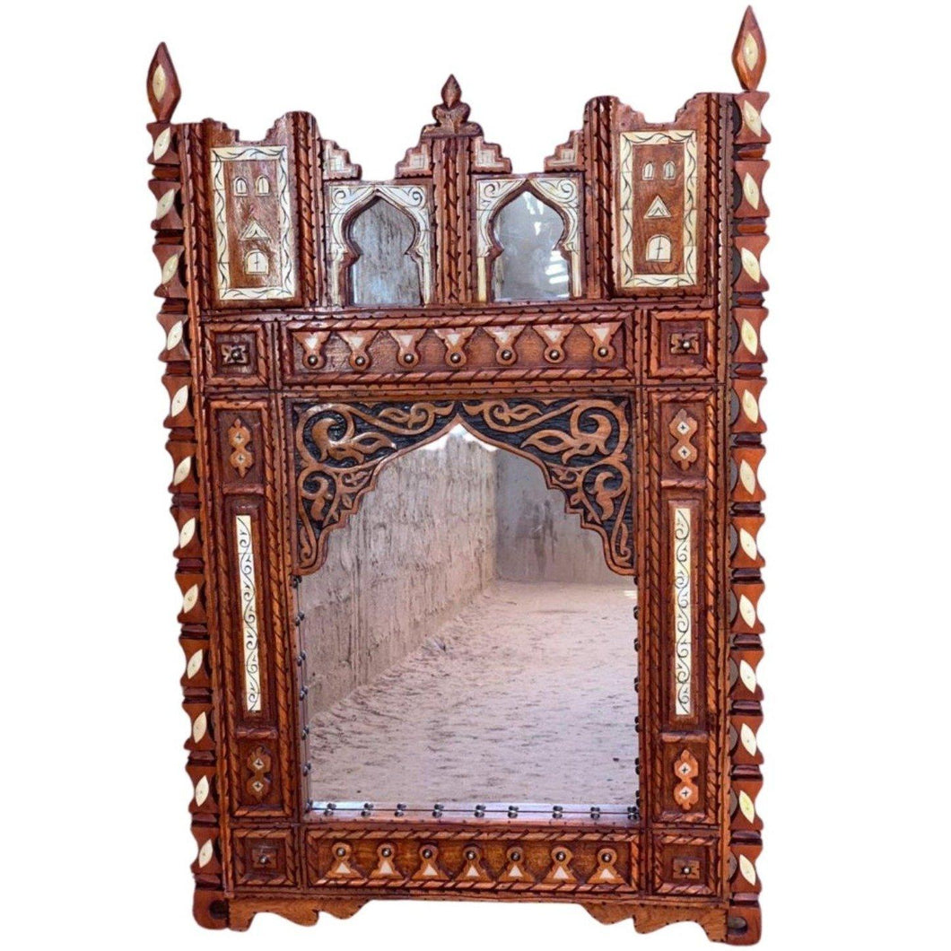 Large Moroccan Berber Mirror - Hand-Carved Wood with Camel Bone Home Decor
