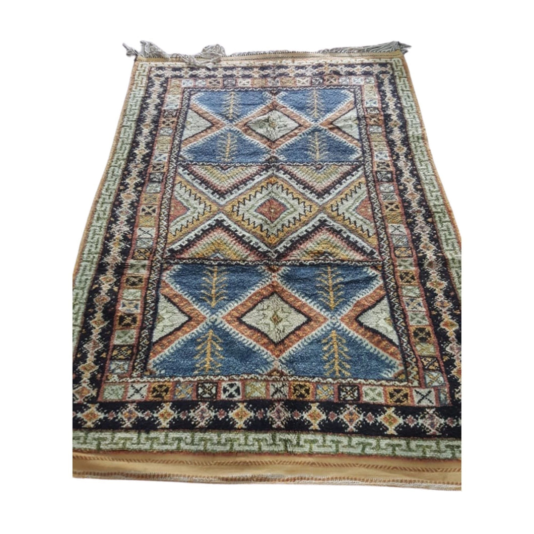 Large Moroccan Blue & Gold Crops Wool Berber Area Rug 4ft x 7ft Home Decor