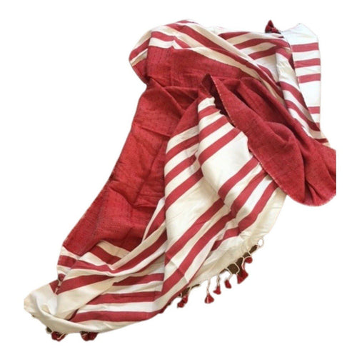 Large Moroccan Striped Cotton Shawl - Eve Branson Foundation Collection Clothing & Shoes