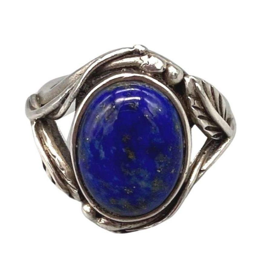 Large Oval Blue Lapis Lazuli Moroccan Ring - Feather Design - Sterling Silver Size 6.5 Rings