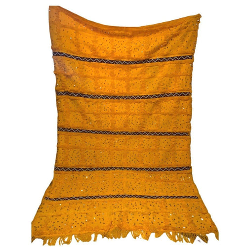Large Vintage Moroccan Wedding Tapestry Blanket - 6ft x 9ft Yellow with Sequins Home Decor