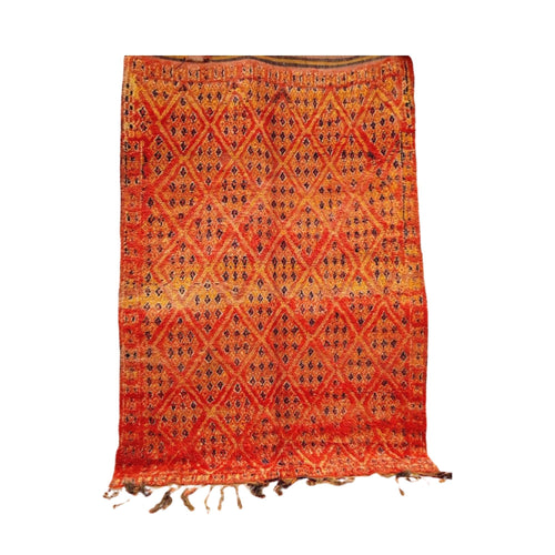 Large Vintage Red Orange Moroccan Berber Rug 7ft x 10ft - Beni Ourain Home Decor