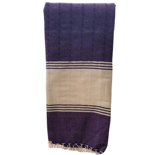 Large Woven Shawl - Eve Branson Foundation Collection Clothing & ShoesPurple & White Wide Stripe