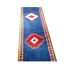 Long Moroccan Blue Wool Berber Rug Runner 10x2