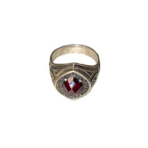 Men's Moroccan Silver Ring - Garnet Rings