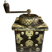 Load image into Gallery viewer, Mid 1900s Moroccan Hand Crank Coffee Grinder - Silver, Brass Coins Functional Home Decor