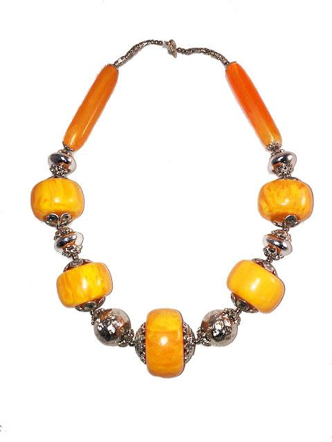 Moroccan Amber Copal Resin & Silver Beaded Statement Necklace Jewelry