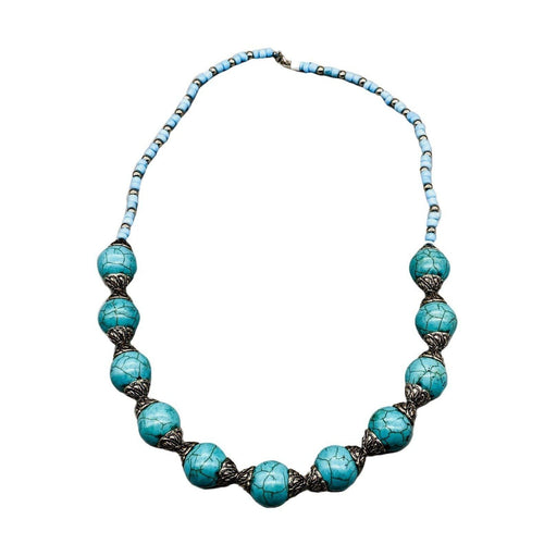 Moroccan Beaded Necklace - Turquoise Crackle Stone Necklace