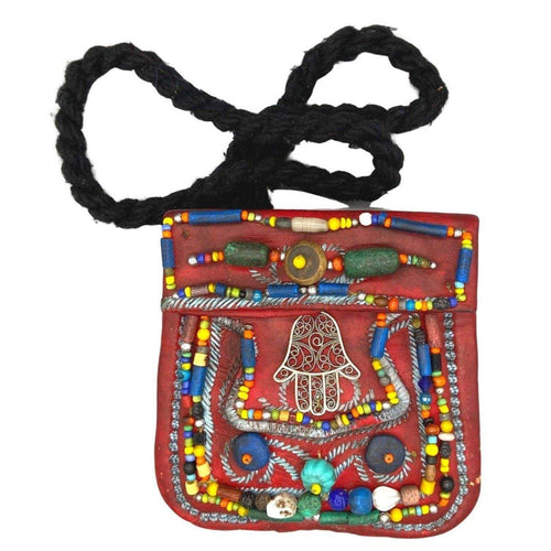 Moroccan Beaded Red Leather Purse - Vintage Wood & Glass Beads, Silver Hamsa Fatima Hand - Small Crossbody Boho Bag Bags & Purses