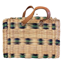 Load image into Gallery viewer, Moroccan Berber Bag - Woven Reed Basket Purse Bags & PursesGreen & Blue